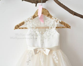 Flower girl dresses etsy ie illusion sheer neck ivory beaded lace champagne tulle wedding flower girl dress m0062 mightylinksfo