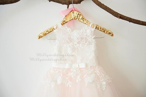 Ivory lace pale pink tulle flower girl dress wedding etsy image 0 mightylinksfo