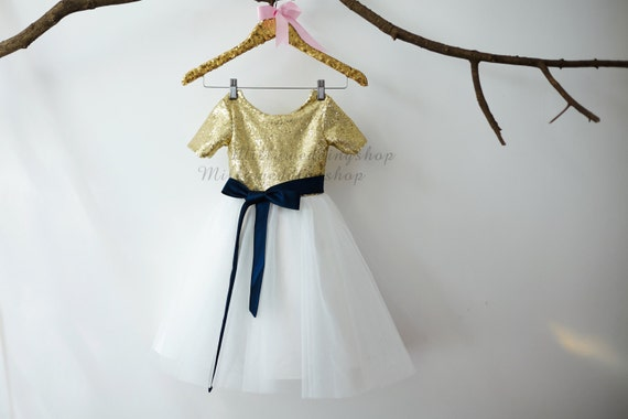 Short Sleeves Gold Sequin Ivory Tulle Flower Girl Dress Junior Bridesmaid Wedding Party Dress with navy blue sash M0011