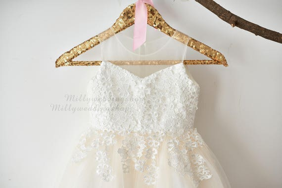 Illusion Sheer Neck Ivory Lace Champagne Tulle Wedding Flower Girl Dress M0061
