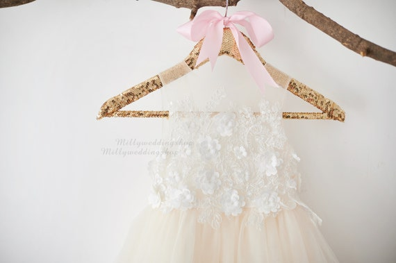 3D Flower Lace V Back Wedding Flower Girl Dress M0078