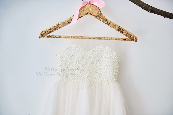 Pearl Beaded Champagne Tulle Flower Girl Dress Wedding Junior Bridesmaid Dress M0023