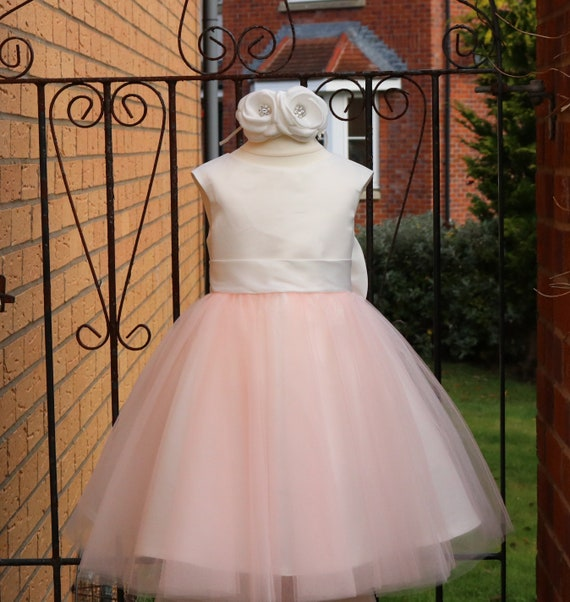 Blush Pink Flower Girl Dress With Big Bow M0070B
