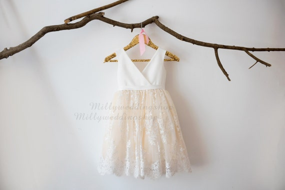 Ivory Satin Lace Champagne Tulle V Neck Flower Girl Dress Wedding Bridesmaid Dress M0036