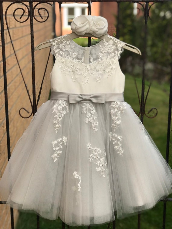 Silver Grey Illusion Sheer Lace Flower Girl Dress M0062B