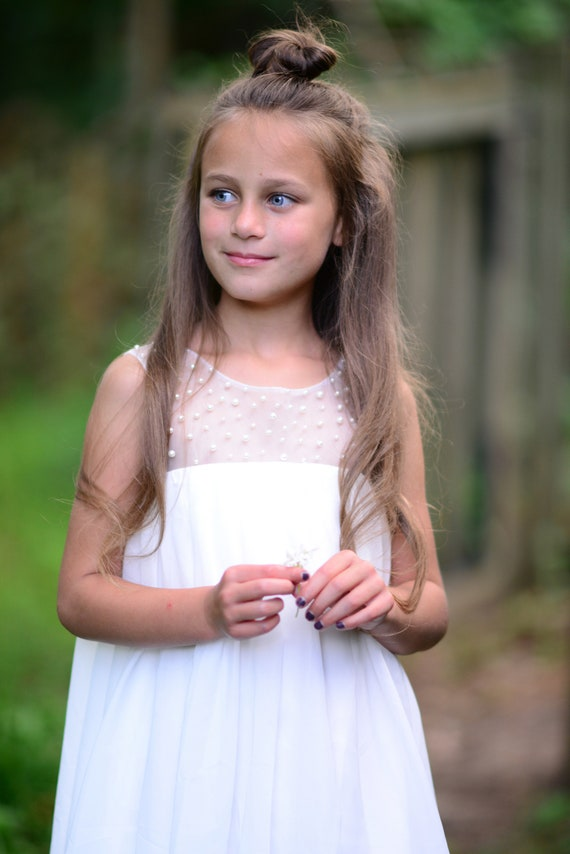 Boho Beach Pearl Tulle Chiffon Flower Girl Dress Wedding Junior Bridesmaid Dress M0037