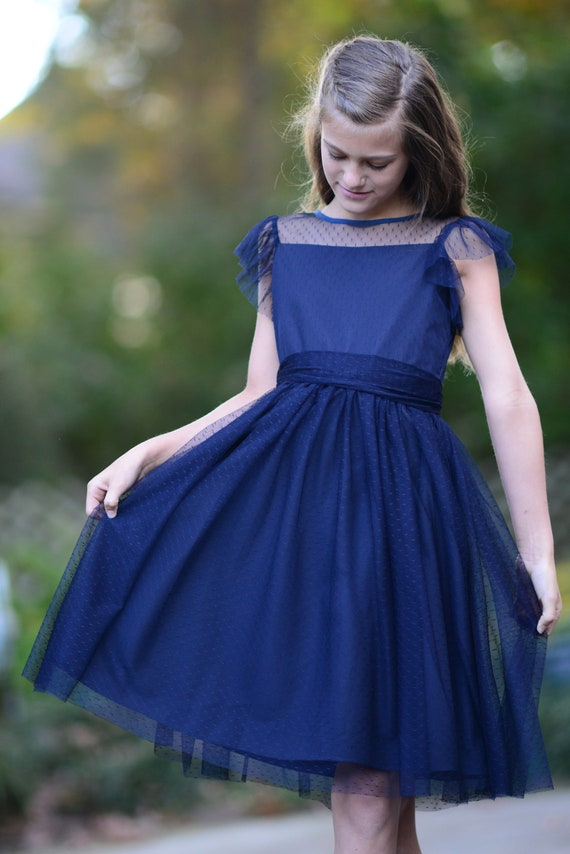 Cap Sleeves Navy Blue Tulle  Flower Girl Dress Junior Bridesmaid Wedding Party Dress M0020