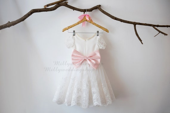 Short Sleeves Satin Lace Tulle with Blush Pink Bow Flower Girl Dress Wedding Bridesmaid Dress M0034