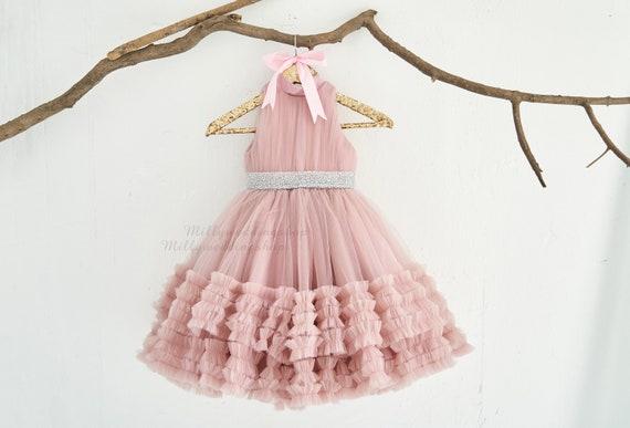 Mauve Tulle Wedding Flower Girl Junior Bridesmaid Dress  M0093