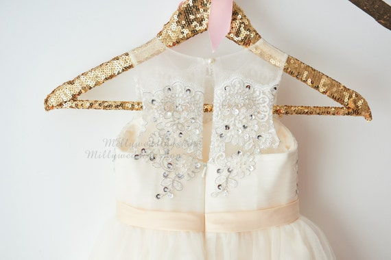 Champagne Tulle Silver Lace Flower Girl Dress Wedding Bridesmaid Dress M0057