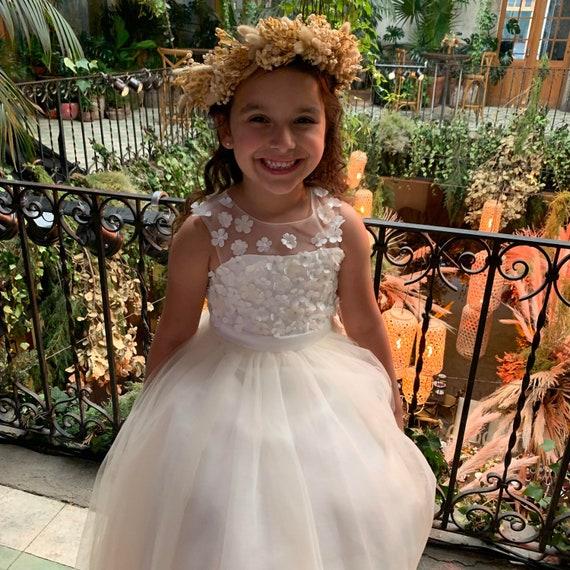Sheer Illusion Beaded Flowers Champagne Tulle Wedding Flower Girl Dress M0073