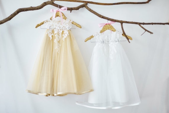 Ivory Lace Champagne Tulle Flower Girl Dress M0019