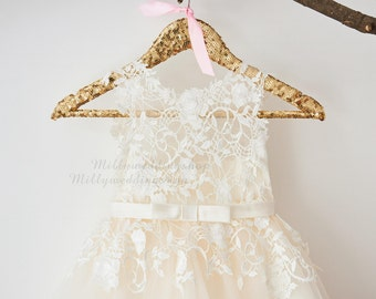 Ivory Lace Champagne Tulle Flower Girl Dress with Bow Belt  M0049