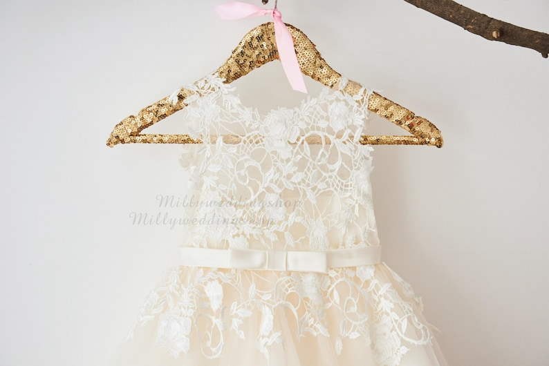 Ivory Lace Champagne Tulle Flower Girl Dress with Bow Belt image 0