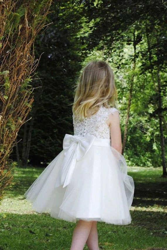 Beaded Lace Flower Girl Dress with Big Bow M0071B