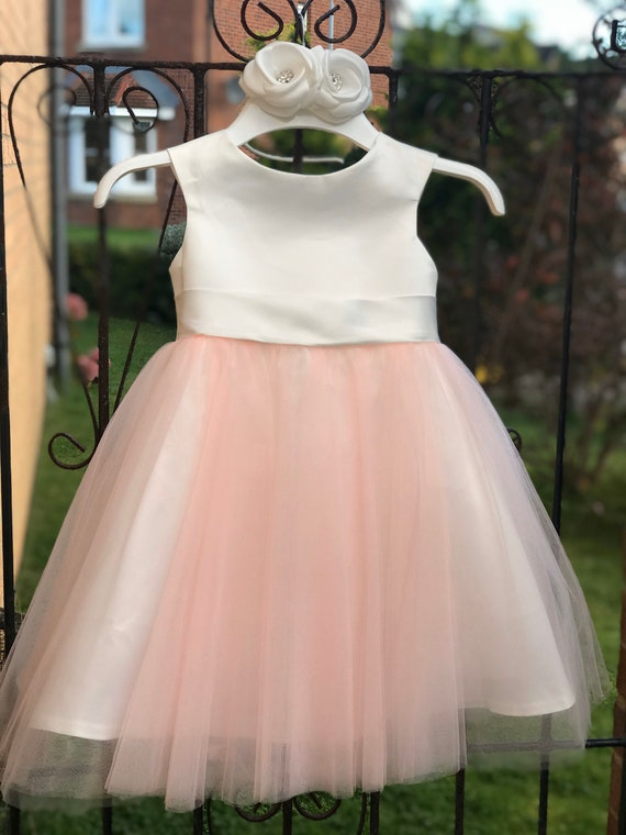 Flower Girl Dress in Blush Pink Tulle With Big Bow M0070B