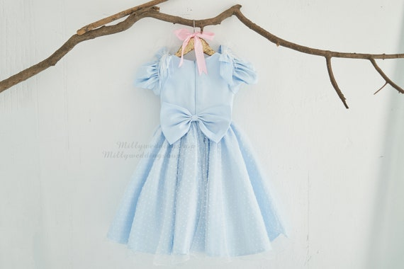 Swiss Dot Overlay Blue Flower Girl Junior Bridesmaid Dress  M0096