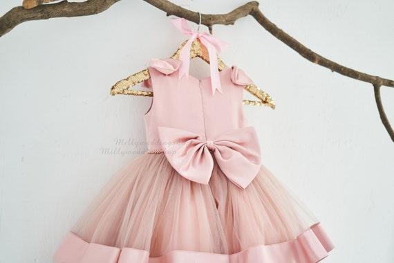 Big Bow Tiered Wedding Flower Girl Junior Bridesmaid Dress  M0095