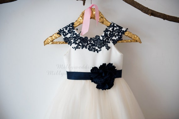 Cap Sleeves Navy Blue Lace Champagne  Tulle Flower Girl Dress Wedding Bridesmaid Dress M0038