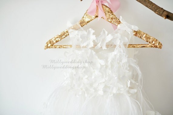 Feather Dotted Flower Girl Dress  M0075