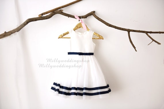 Ivory Taffeta Tulle Navy Blue Stripes  Flower Girl Dress Wedding Junior Bridesmaid Dress M0031