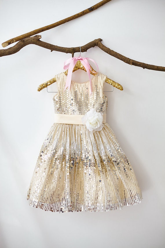 Champagne Sequin Flower Girl Dress Junior Bridesmaid Wedding Party Dress M004