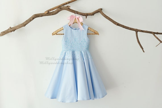 6b857864a ... Beaded Blue Satin Wedding Flower Girl Dress M0081