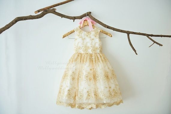 Gold Lace Flower Girl Dress M0053