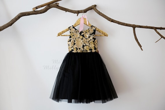 Gold Lace Sequin Black Tulle V Back Flower Girl Dress Wedding Bridesmaid Dress M0039