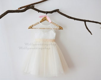 Cap Sleeves Ivory Lace Champagne Tulle Flower Girl Dress Wedding Bridesmaid Dress M0048