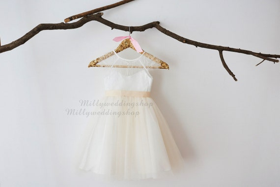 Soft Eye Lash Lace Flower Girl Dress M0048