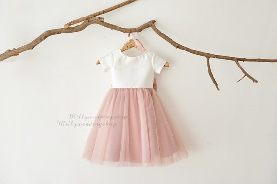 Flower Girl Dress Dusty Rose Pink Tulle With Big Bow M0083