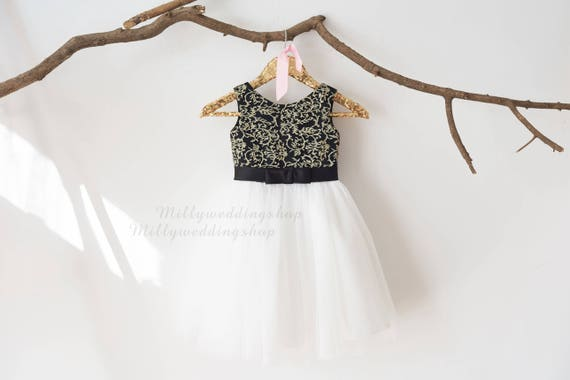 Gold Lace Ivory Tulle with Black Bow Wedding Flower Girl Dress M0063