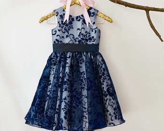 Navy Blue Lace  Flower Girl Dress M001