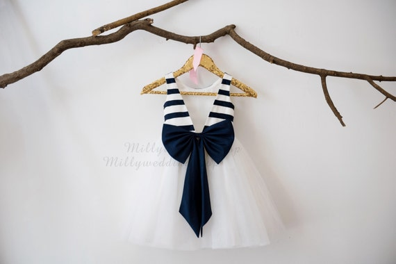 Ivory Navy Blue Taffeta Stripe V Back  Flower Girl Dress Wedding Bridesmaid Dress M0033