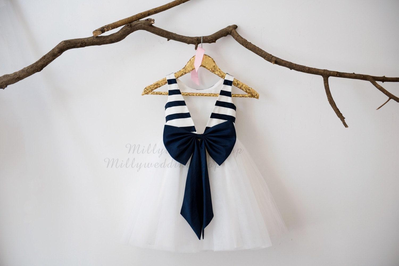 14da8cab022 Ivory Navy Blue Taffeta Stripe V Back Flower Girl Dress Wedding ...