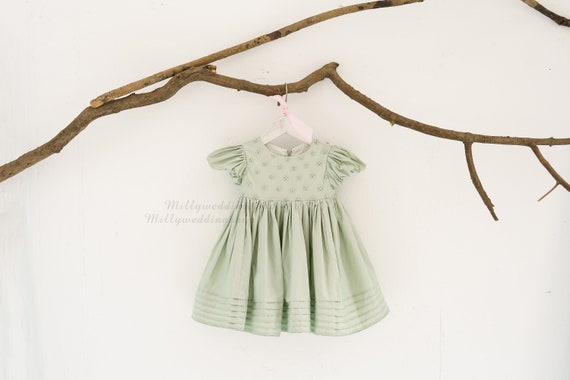 Moss Green Pearl Beaded Cotton Party Flower Girl Junior Bridesmaid Dress  M0098