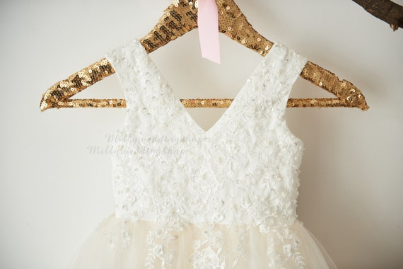 Luxury Beaded Lace Flower Girl Dress  M0060