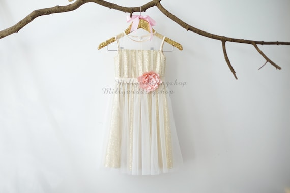 Gold Sequin Ivory Tulle Flower Girl Dress Junior Bridesmaid Wedding Party Dress M009