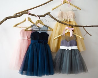 Pink/Navy Blue/Gray/Champagne Chiffon Tulle Flower Girl Dress Junior Bridesmaid Wedding Party Dress with sash/bow M0012