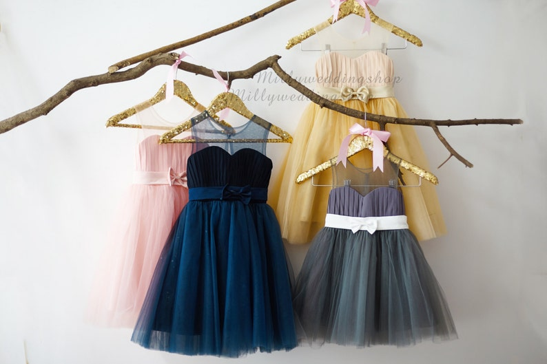 9e4cf06cc9 Pink Navy Blue Gray Champagne Chiffon Tulle Flower Girl Dress Junior  Bridesmaid Wedding Party Dress with sash bow M0012