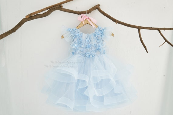 Blue Lace 3D flowers Wedding Flower Girl Junior Bridesmaid Dress  M0094