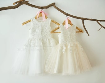 White Lace White Tulle Flower Girl Dress Wedding Bridesmaid Dress M0052