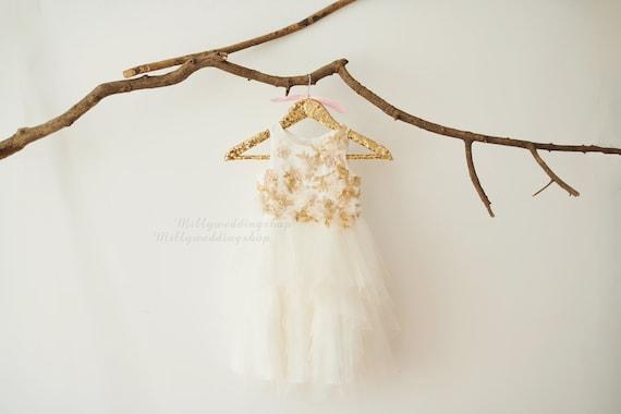 Champagne Sequin Lace Ruffle Skirt Princess Wedding Flower Girl Dress M0077