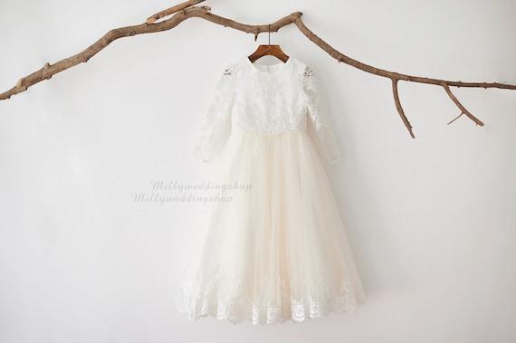 Long Sleeves Floor Length Beaded Lace Champagne Tulle Wedding Flower Girl Dress M0080