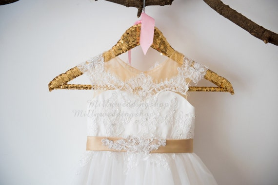 Cap Sleeves Beaded Lace Tulle  Flower Girl Dress Wedding Bridesmaid Dress with Champagne Belt Bow M0042