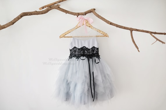 V Back Silver Grey Tulle Black Lace Wedding Flower Girl Dress M0079