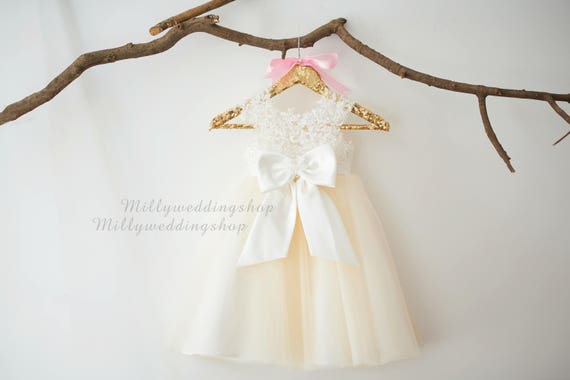 Empire Waist Beaded Lace  Flower Girl Dress M0071