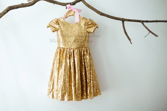 Gold Sequin Flower Girl Dress M005