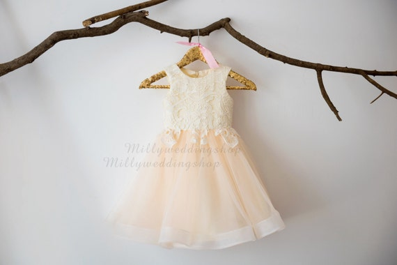 Ivory Lace Champagne Tulle Flower Girl Dress Junior Bridesmaid Wedding Party Dress M0032